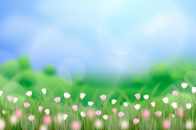 Realistyczny Wiosenny Krajobraz Z Rozmytymi Elementami Darmowych Wektorów