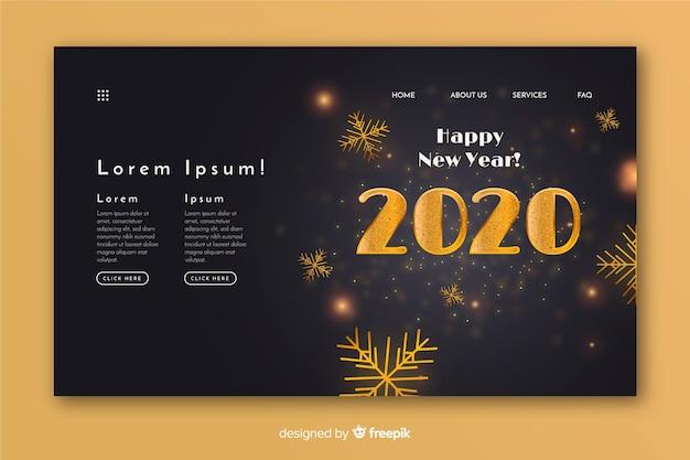 Realistyczny wygląd strony docelowej szczęśliwego nowego roku Darmowych Wektorów