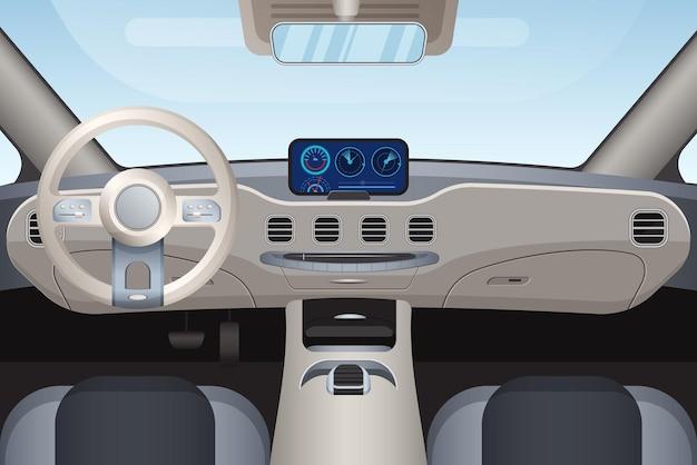 Realistyczny Wygląd Wnętrza Pojazdu Wysokiej Klasy Premium Wektorów
