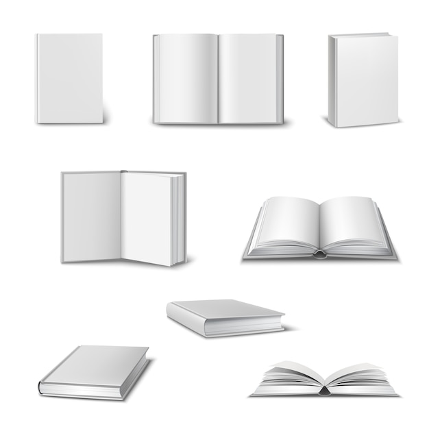 Realistyczny zestaw 3d otwartych i zamkniętych książek Darmowych Wektorów