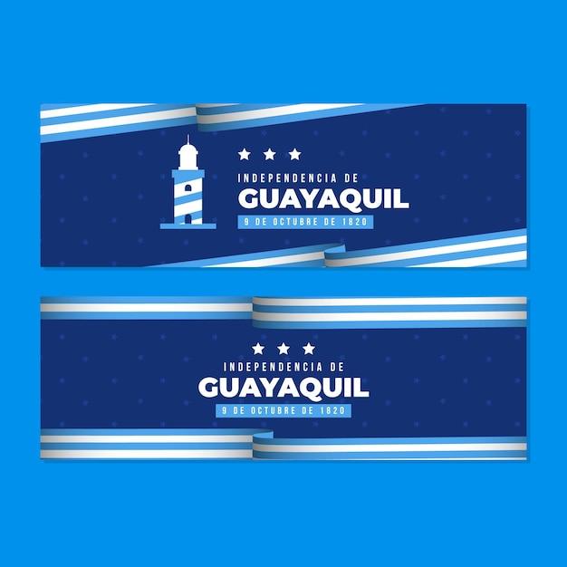 Realistyczny Zestaw Bannerów Independencia De Guayaquil Premium Wektorów