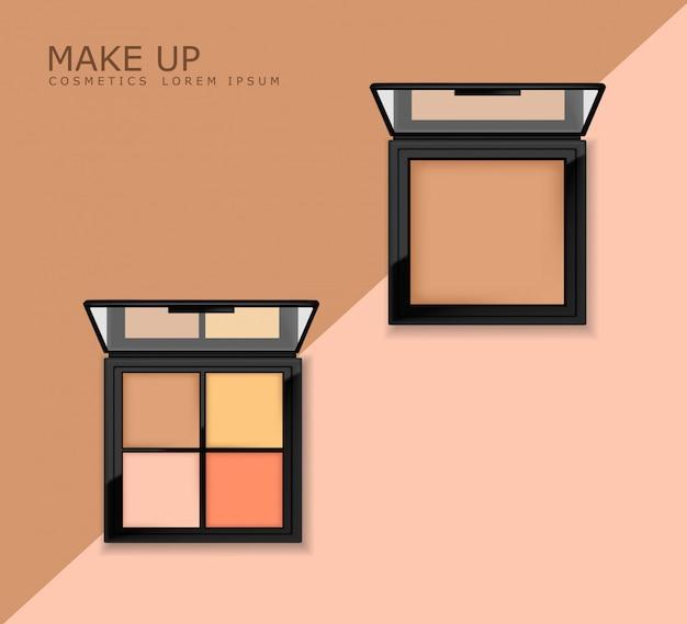 Realistyczny Zestaw Cieni Do Powiek, Paleta Makijażu, Kosmetyki Premium Wektorów