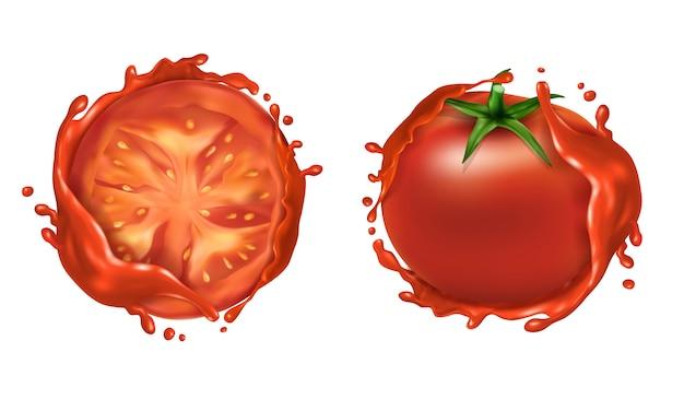 Realistyczny zestaw dwóch czerwonych dojrzałych pomidorów, całe świeże warzywa i pół Darmowych Wektorów