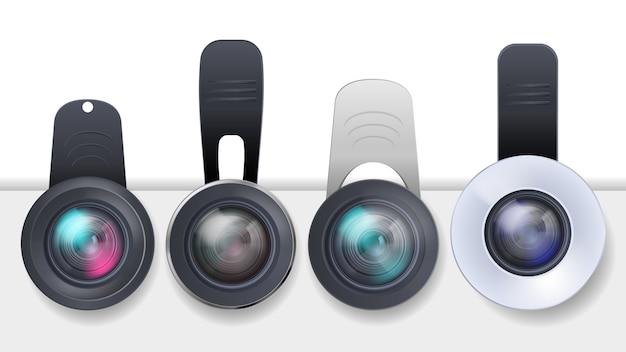 Realistyczny Zestaw Klipsowanych Soczewek Do Urządzeń Mobilnych, Smartfonów I Tabletów Darmowych Wektorów