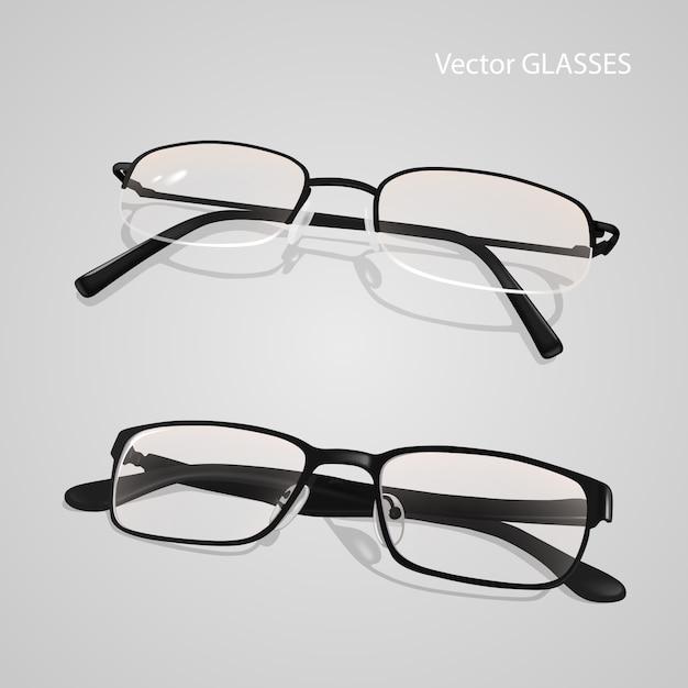 Realistyczny Zestaw Okularów W Metalowych I Plastikowych Oprawkach. Okulary Na Białym Tle Na Szarym Tle Premium Wektorów