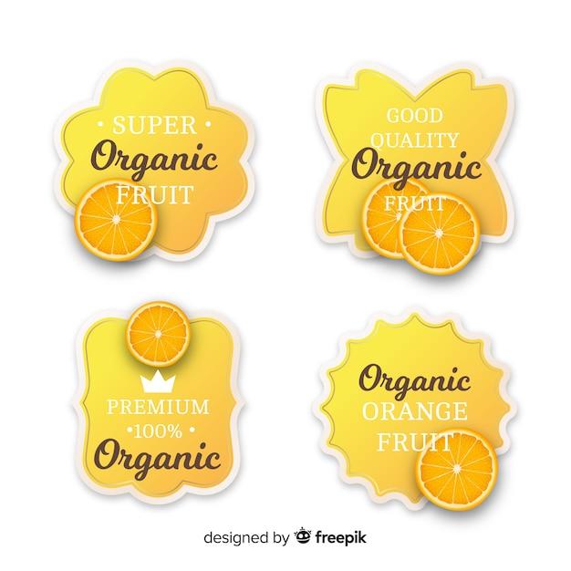 Realistyczny zestaw organicznych pomarańczowy etykiety Darmowych Wektorów