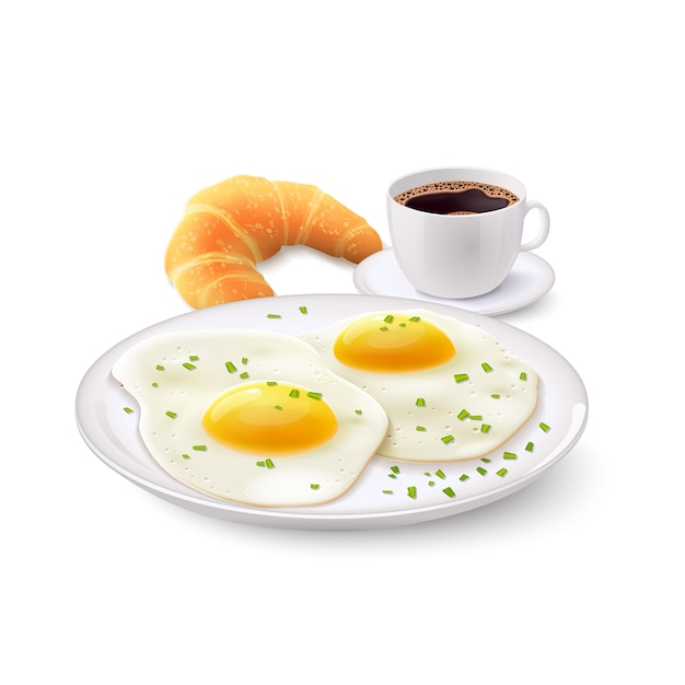 Realistyczny zestaw śniadaniowy Darmowych Wektorów