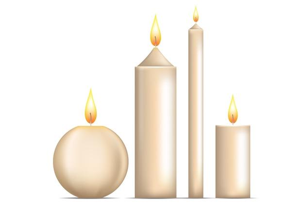 Realistyczny Zestaw świec Na Białym Tle. Premium Wektorów