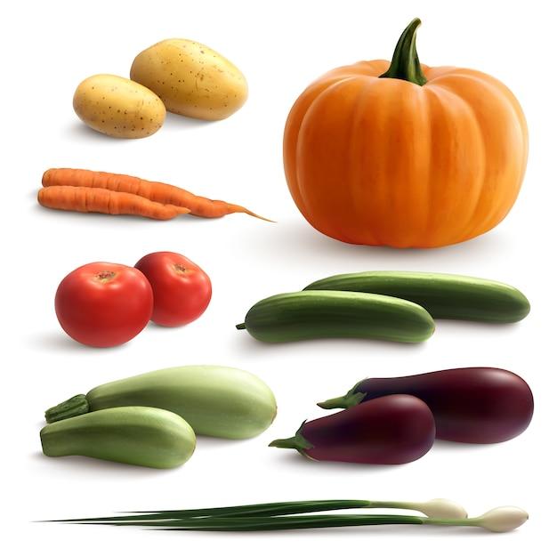 Realistyczny Zestaw Warzyw Darmowych Wektorów