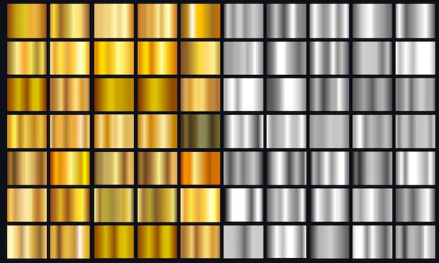 Realistyczny żółty I Srebrny Gradient Tekstury Opakowanie. Błyszczący Złoty Zestaw Folii Metalowej Gradientu Premium Wektorów