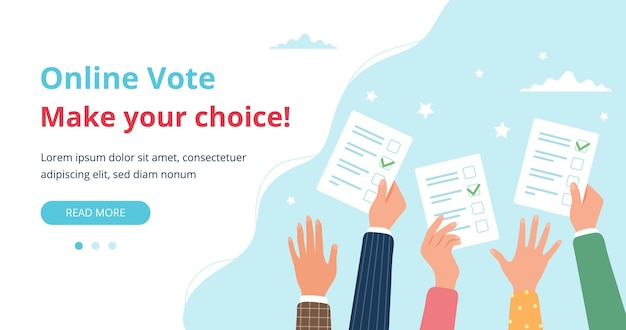 Ręce Ludzi Trzyma Karty Do Głosowania Premium Wektorów