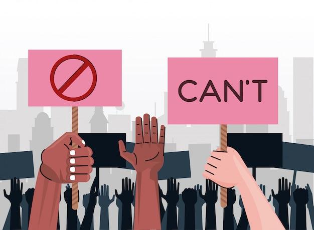 Ręce Międzyrasowych Ludzi Protestują Przeciwko Podnoszeniu Tabliczek Z Cant Word I Symbolem Stopu Na Mieście Premium Wektorów