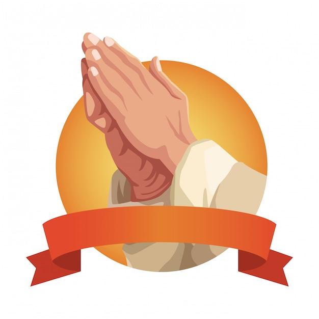 Ręce Modląc Się Znak Premium Wektorów