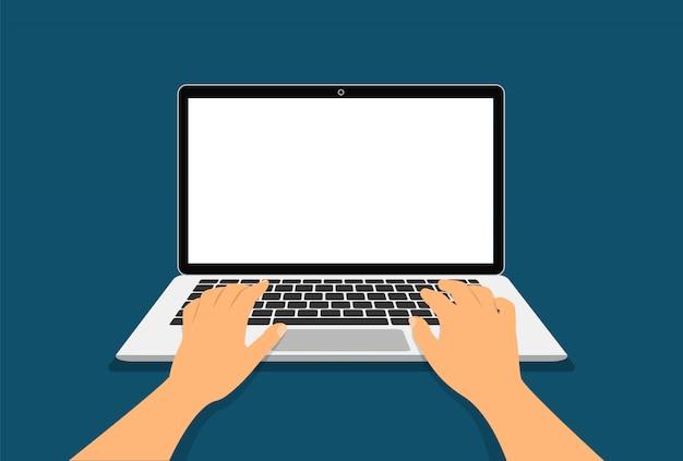 Ręce Na Klawiaturze Laptopa. Koncepcja Pracy W Widoku Z Góry Laptopa. Premium Wektorów