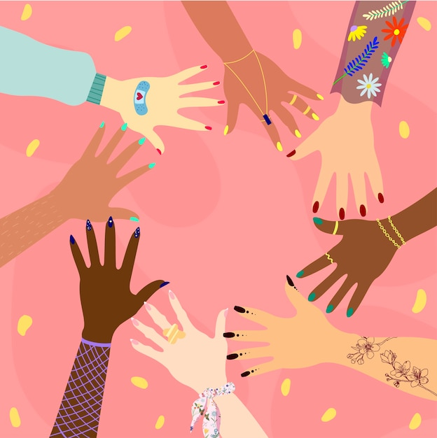 Ręce Różnych Ras I Narodowości W Kręgu. Koncepcja Różnorodności, Integracji, Stosunków Międzynarodowych I Przyjaźni Kobiet. Feministka. Premium Wektorów