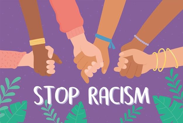 Ręce Różnych Ras Trzymają Się Razem, By Powstrzymać Rasizm Premium Wektorów