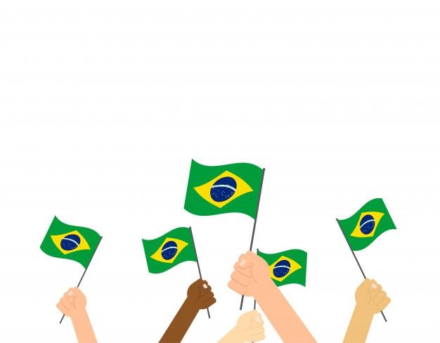Ręce trzyma flagi brazylii Premium Wektorów