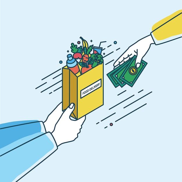 Ręce Trzyma Papierową Torbę Z Owocami I Warzywami I Przekazywanie Pieniędzy. Koncepcja Zamówienia Lub Zakupu Produktów Spożywczych Online Lub Usługi Dostawy żywności. Kolorowa Ilustracja W Stylu Przebiegłość. Premium Wektorów