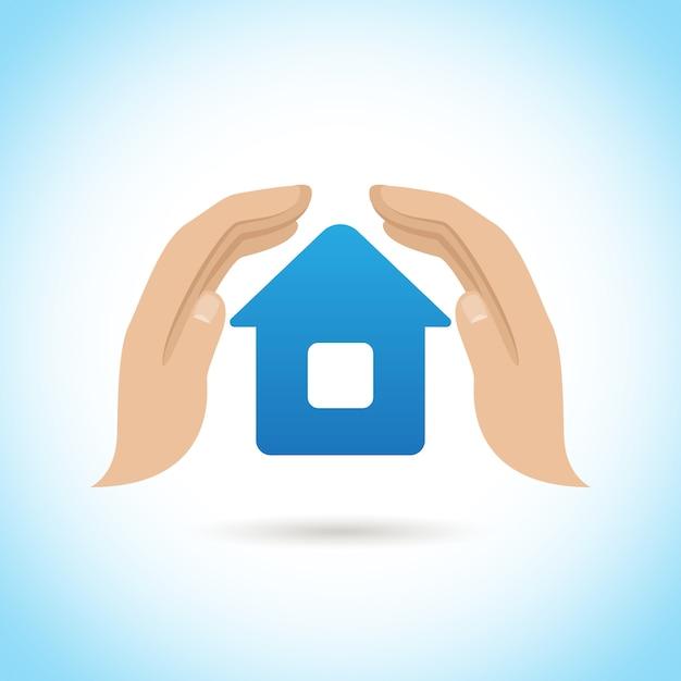 Ręce trzymają w domu. koncepcja ubezpieczenia domu Darmowych Wektorów