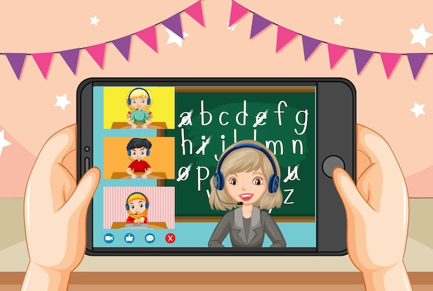 Ręce, Trzymając Smartfon Z Nauczycielem I Uczniem Na Ekranie Smartfona Darmowych Wektorów