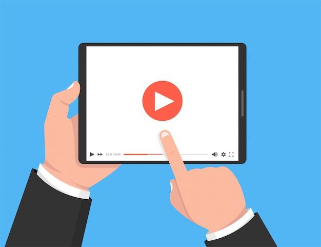 Ręce, Trzymając Tablet I Dotykając Ekranu Premium Wektorów
