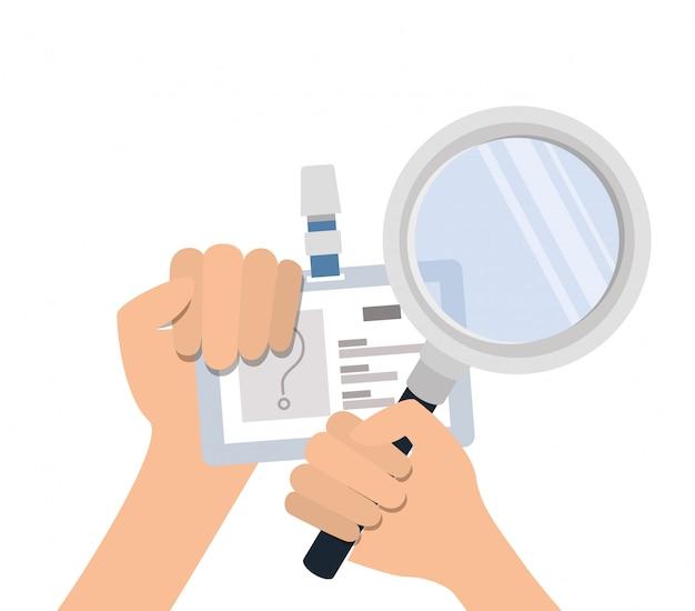 Ręce Z Kartą Identyfikacyjną I Lupą Premium Wektorów