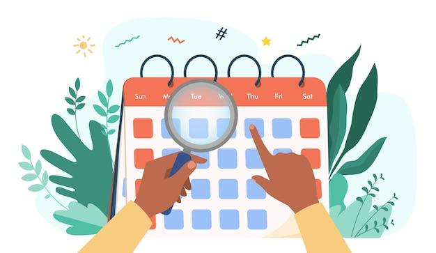 Ręce Z Lupą Sprawdzanie Kalendarza. Lupa, Data, Ilustracja Wektorowa Płaski Dzień. Czas I Planowanie Darmowych Wektorów