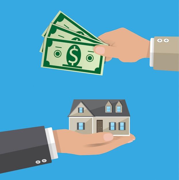 Ręce Z Pieniędzmi I Domem. Nieruchomość Premium Wektorów