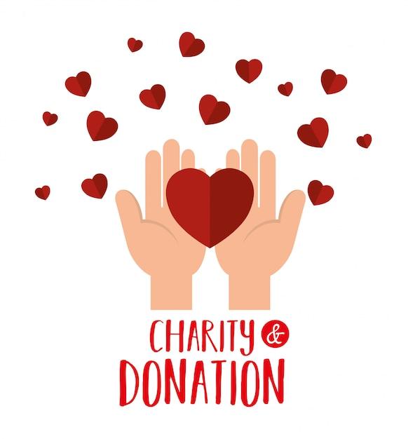 Ręce z sercem na datek charytatywny Darmowych Wektorów
