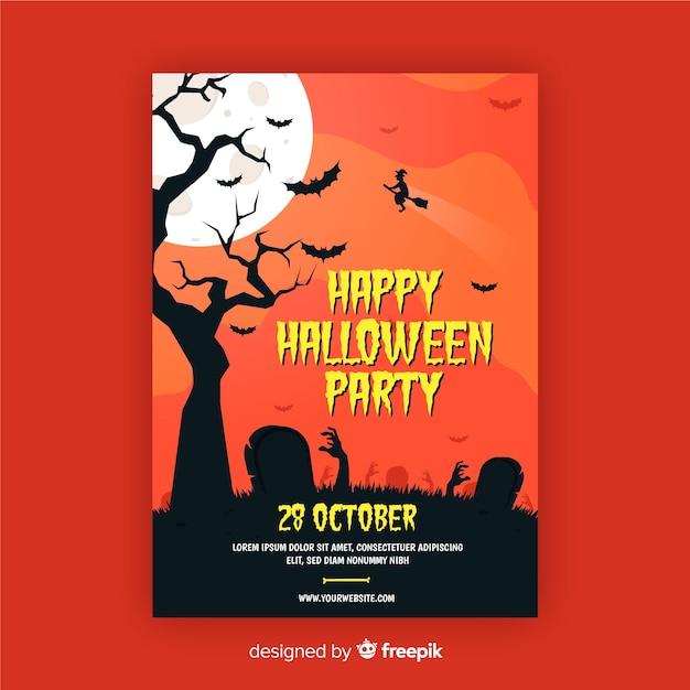 Ręce zombie w cmentarzu halloween party plakat Darmowych Wektorów