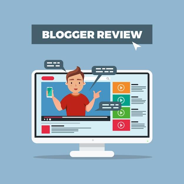 Recenzja Bloggera W Mediach Społecznościowych Darmowych Wektorów