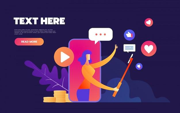 Recenzje Produktów Na Smartfony I Urządzenia Mobilne, Koncepcja Przeglądu Bloggera, Streamer Wideo, Transmisja Na żywo, Kanał Online, Premium Wektorów