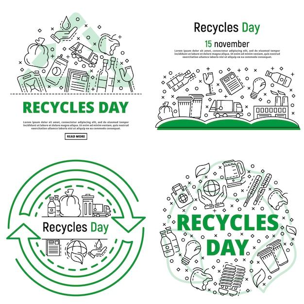Recycle day banner set. zarys zestaw bannerów wektor dzień recyklingu Premium Wektorów