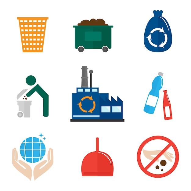 Recykling Kolekcji Ikon Darmowych Wektorów