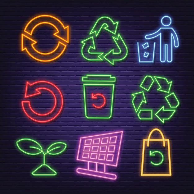 Recykling neonowe ikony Premium Wektorów
