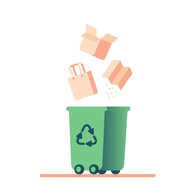 Recykling odpadów papierowych. karton wpada do zielonego kosza z symbolem recyklingu. Premium Wektorów