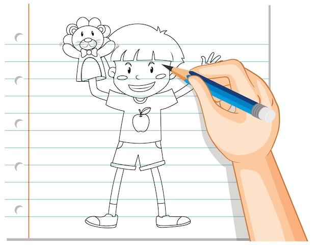Ręczne Pisanie Chłopca Grającego Zarys Dłoni Lalki Darmowych Wektorów