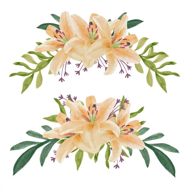 Ręcznie Malowane Akwarela Bukiet Kwiatów Lilii Krzywa Premium Wektorów