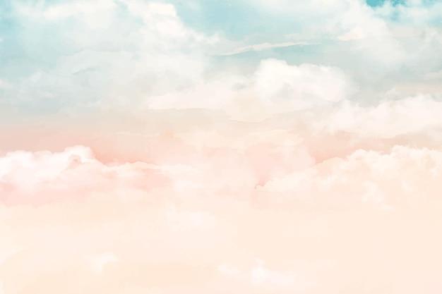 Ręcznie Malowane Akwarela Pastelowe Niebo W Tle Darmowych Wektorów