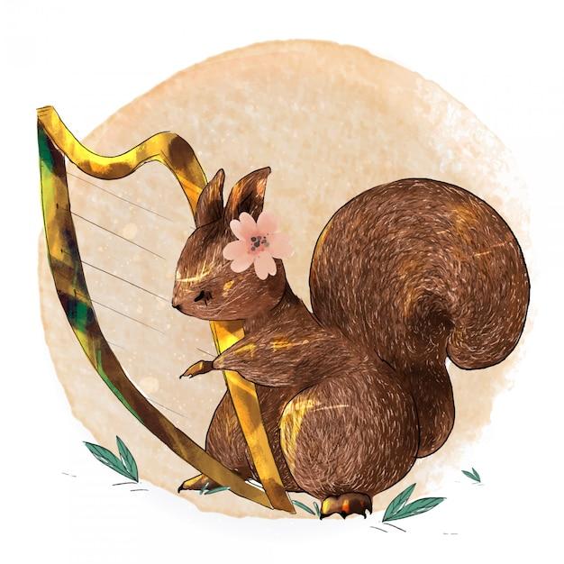 Ręcznie Malowane Akwarela Słodkie Zwierzę Wiewiórka Grać Muzykę Na Gałęzi Z Tropikalnymi Kwiatami I Liśćmi Premium Wektorów