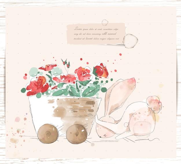 Ręcznie Malowane Akwarela Tropikalny ładny Zwierzę Królik Na Gałęzi Z Tropikalnymi Kwiatami I Liśćmi Premium Wektorów