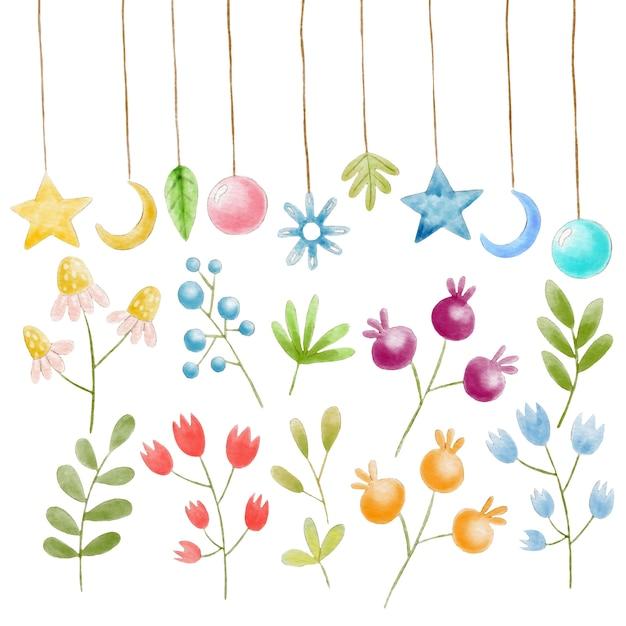 Ręcznie Malowane Akwarele Kwiatowymi Elementami I Dekoracje Premium Wektorów