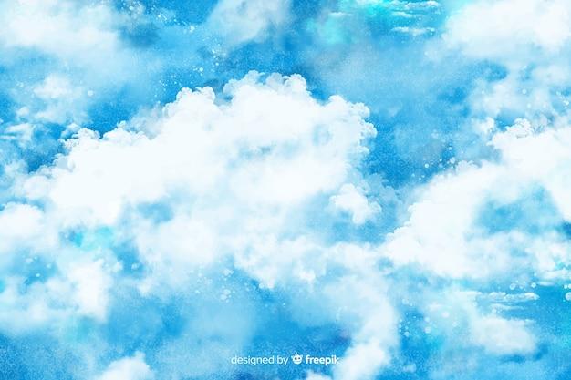 Ręcznie Malowane Chmury Tło Darmowych Wektorów