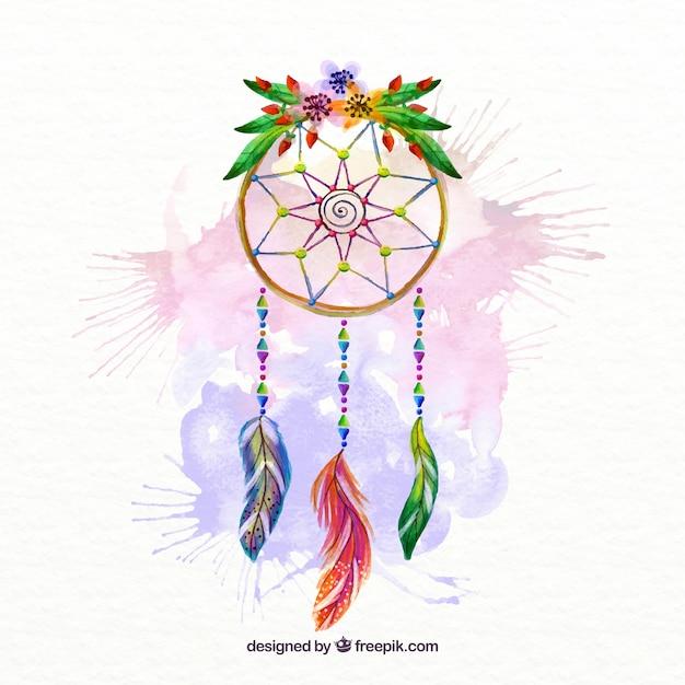 Ręcznie Malowane Dream Catcher Plamy Akwarela I Kwiatów Szczegółowo Darmowych Wektorów