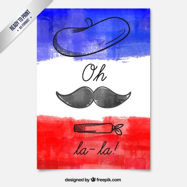 Ręcznie Malowane Francuski Karty Premium Wektorów