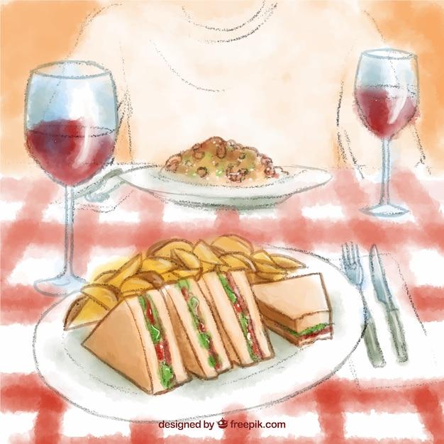 Ręcznie Malowane Ilustracji Pyszny Obiad Darmowych Wektorów
