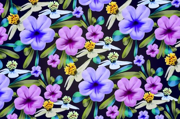 Ręcznie malowane kwiaty w tle Darmowych Wektorów
