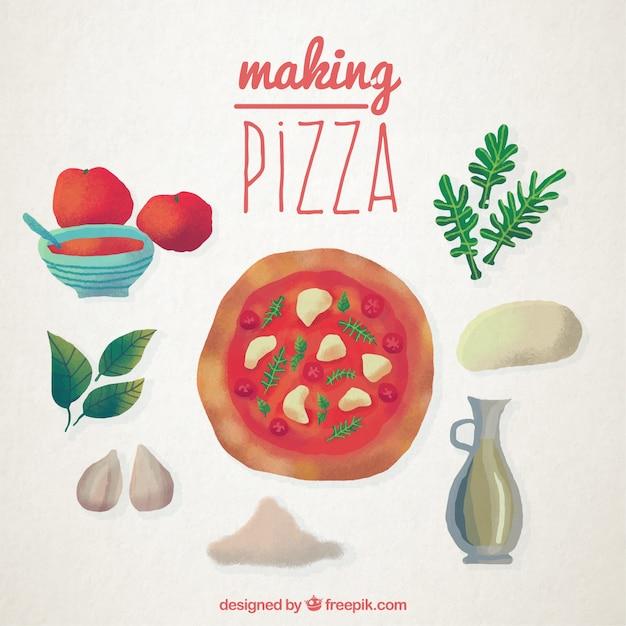 Ręcznie Malowane Pizzy Przepis Darmowych Wektorów