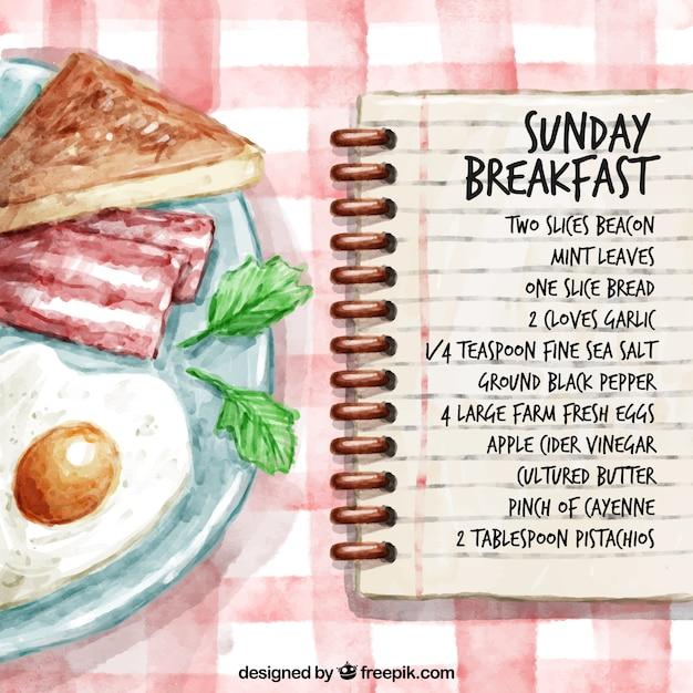 Ręcznie Malowane śniadanie Niedziela Przepis Premium Wektorów