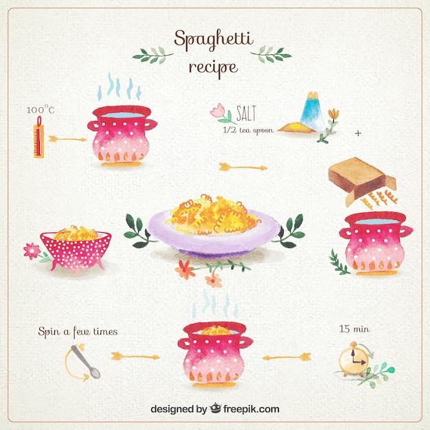 Ręcznie Malowane Spaghetti Przepis Darmowych Wektorów